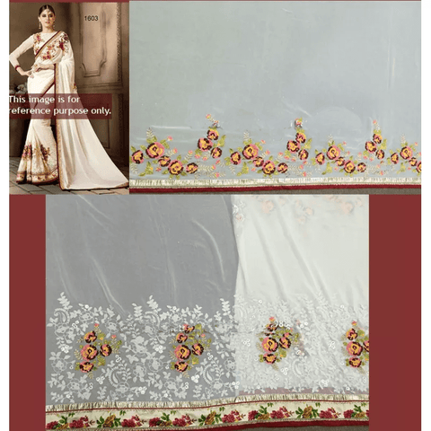 Elegant Off White Georgette Designer Sarees Sale Online ,Indian Dresses - 2