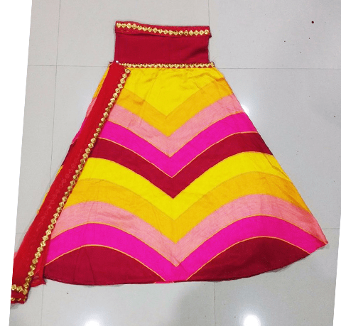 Pink And Yellow Stripe Sequins Work Indian Lengha Online ,Indian Dresses - 2