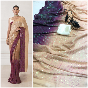 Ombre Sequin Combo Saree in Georgette with Satin Blouse