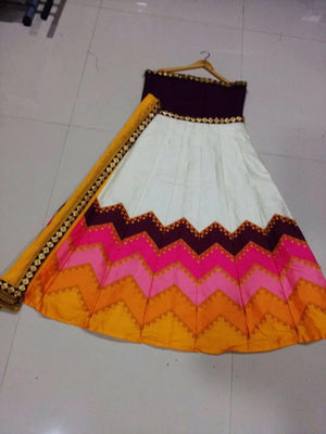 Bollywood Dress Zigzag Print Pink And White Chaniya Choli ,Indian Dresses - 3