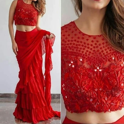 Trendy Red Georgette Ruffle Party Saree Indian Dresses