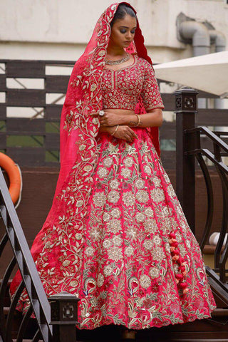 Embroidered Pink Wedding Wear Lehenga Online Shopping With Price