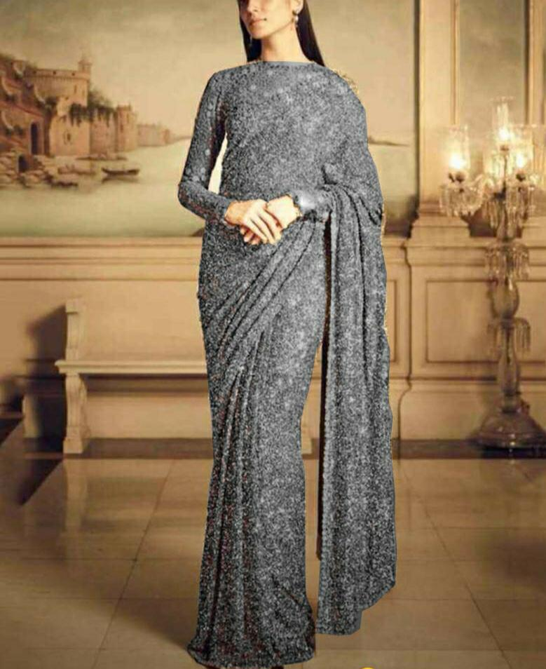 Silver Color Georgette Sequins Fancy Ladies Saree Online