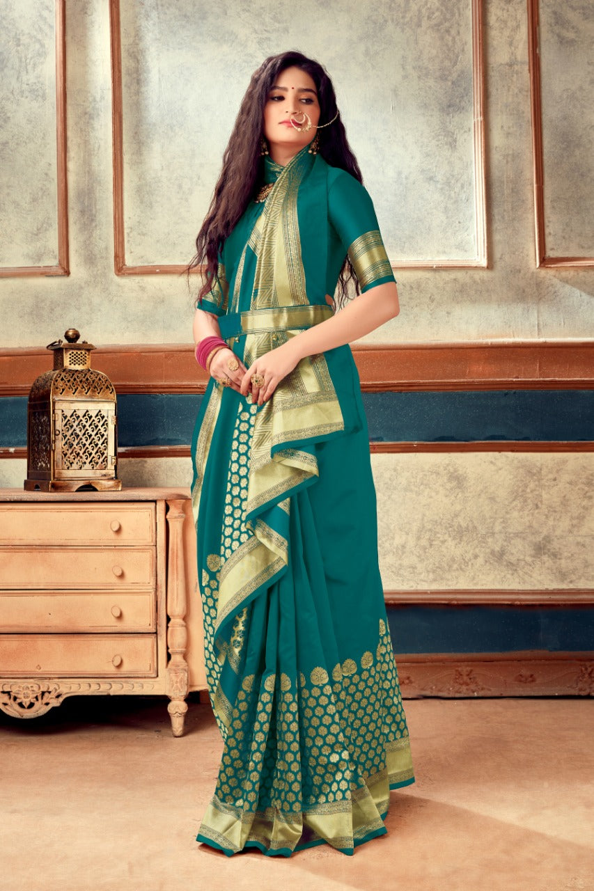 Teal Green Banarasi Weaving Soft Silk  With Rich Heavy Border With All Over Butti Weaves
