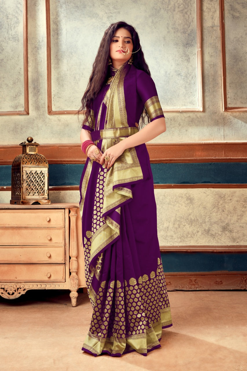 Purple  Banarasi  Weaving Soft Silk  With Rich Heavy Border With All Over Butti Weaves