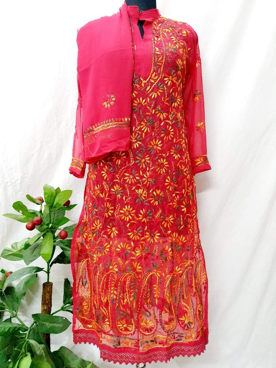 Brick Red Georgette  Ghass Patti Work Chikankari Kurti With Stole