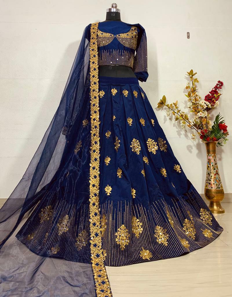 Blue Heavy Embriodery Work Lehenga Chole With Dupatta