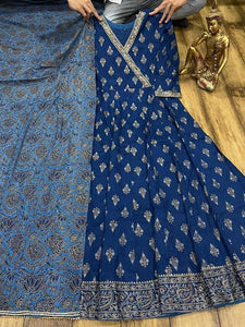 Blue Premium Silk Anarkali Gown With Gotta Detailing On Yoke With Dupatta