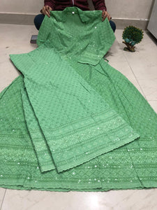 Light Green  Chikankari Anarkali Kurti Mastani Sharara