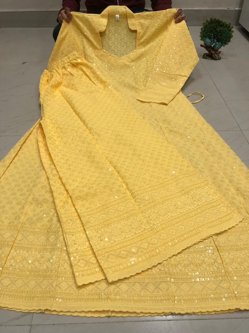 Light Yellow  Chikankari Anarkali Kurti Mastani Sharara