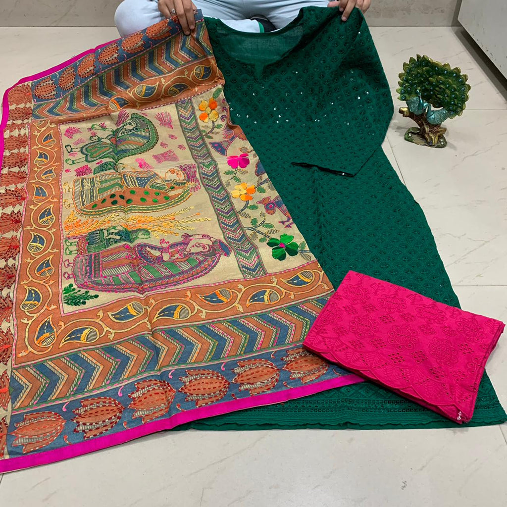 Dark Green  Sequence work Chickenkari Kurti & Pink  Plazo With Handwork Dupatta