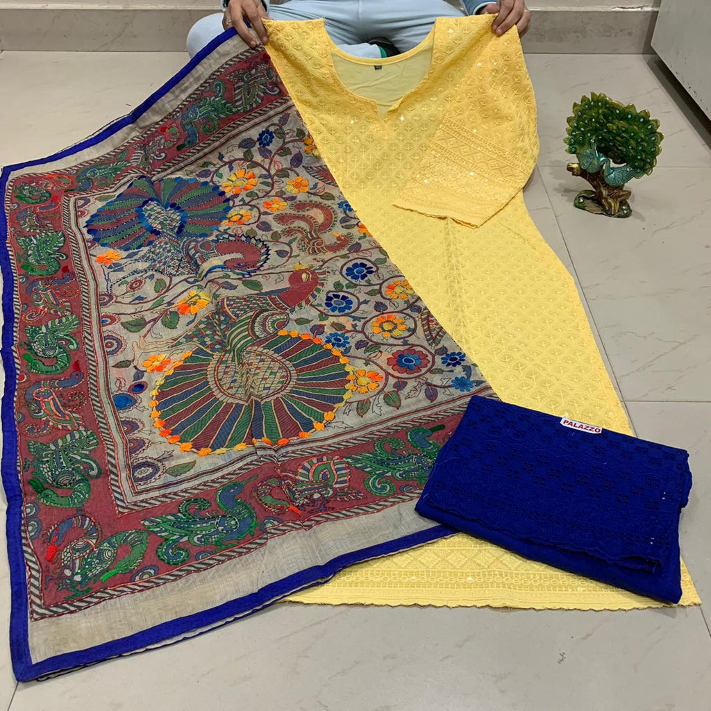 Light Yellow   Sequence work Chickenkari Kurti & Blue  Plazo With Handwork Dupatta