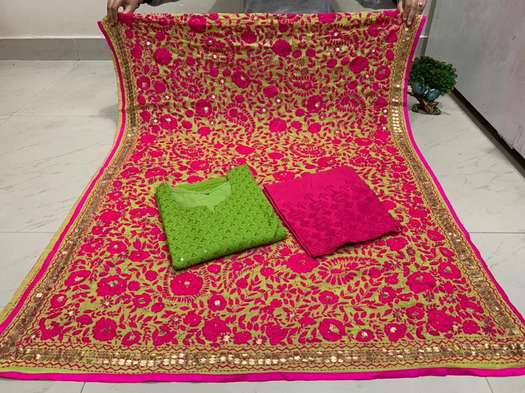 Beautiful Kashmiri Heavy Threadwork Raw Silk Dupatta With Parrot Green Cotton Kurti & Pink  Plazo