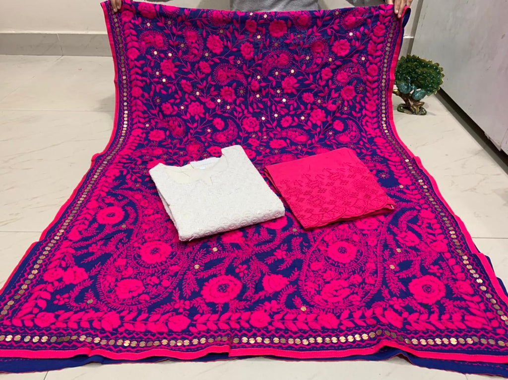 Beautiful Kashmiri Heavy Threadwork Raw Silk Dupatta With White Cotton Kurti & Bright Pink  Plazo