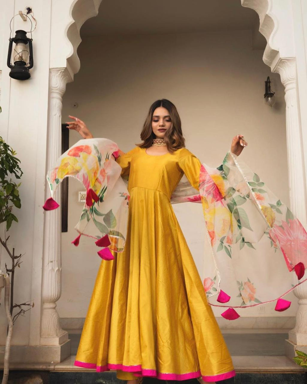 Beautiful  Mustard Yellow  Heavy Ghera Rayon Gown With Bijia Lace at The Yoke & Pure Organza Dupatta