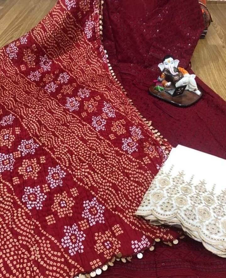 Maroon  Chikankari Anarkali With White  Plazoo & Multicolour Silk Bandhani Dupatta