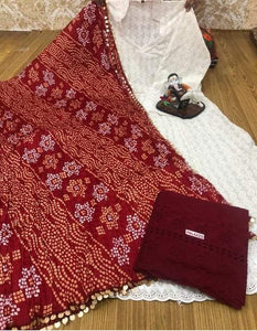 White  Chikankari Anarkali With Maroon  Plazoo & Multicolour Silk Bandhani Dupatta