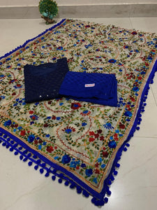 Beautiful Kashmiri Heavy Work Raw Silk Dupatta With Dark Blue  Cotton Kurti & Blue  Plazo