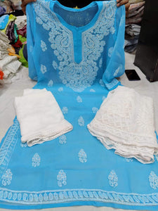 Sky Blue  & White Kashmiri Design Georgette Chikankari Full Set