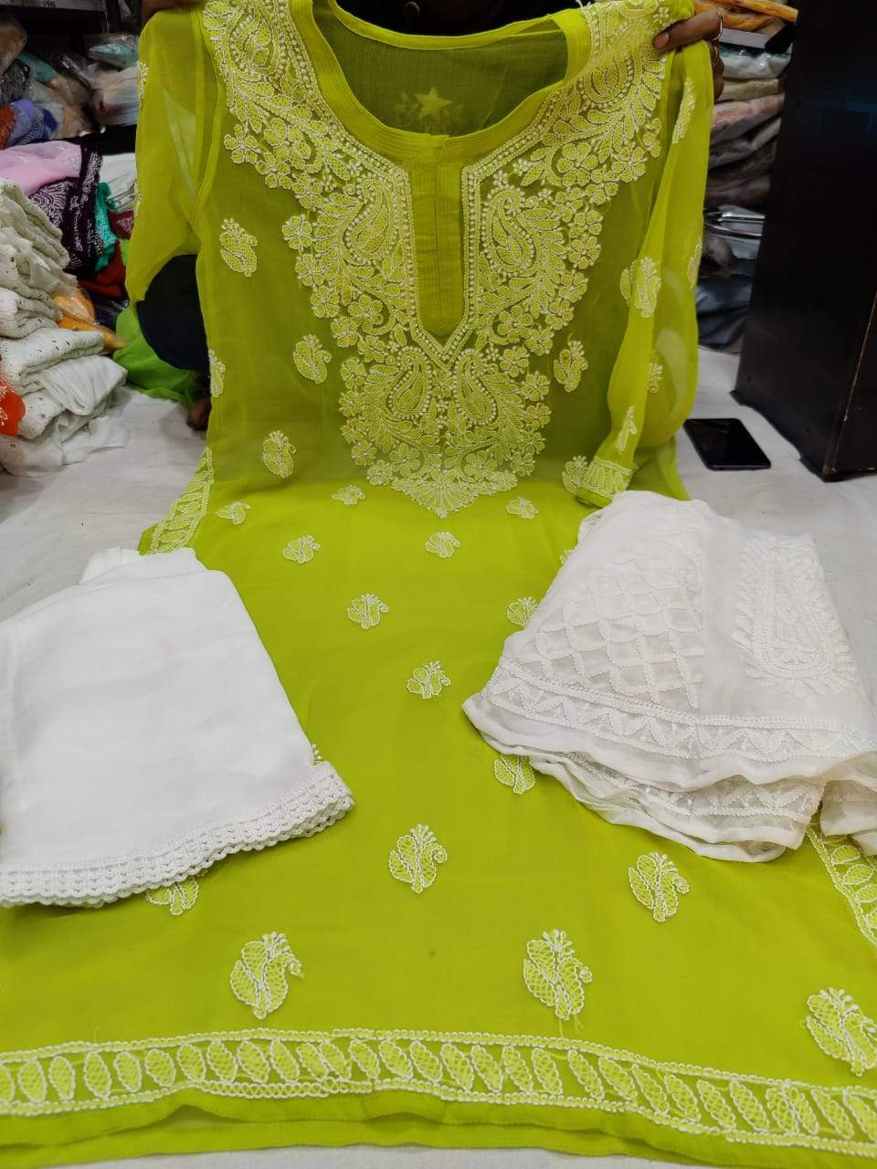Green  & White Kashmiri Design Georgette Chikankari Full Set
