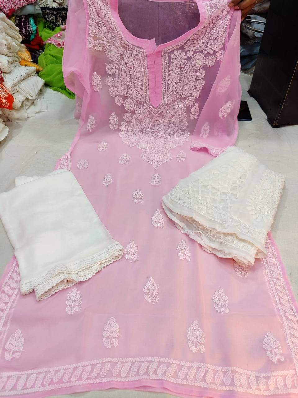 Light Pink  & White Kashmiri Design Georgette Chikankari Full Set