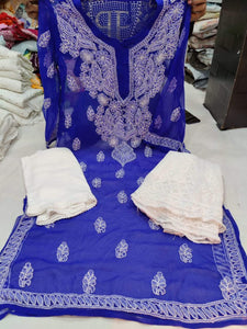 Blue   & White Kashmiri Design Georgette Chikankari Full Set