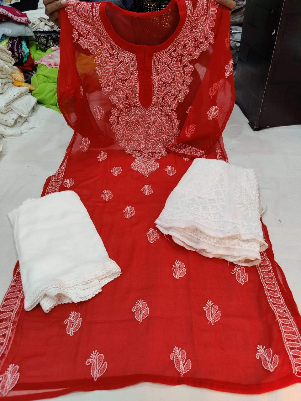 Red  & White Kashmiri Design Georgette Chikankari Full Set