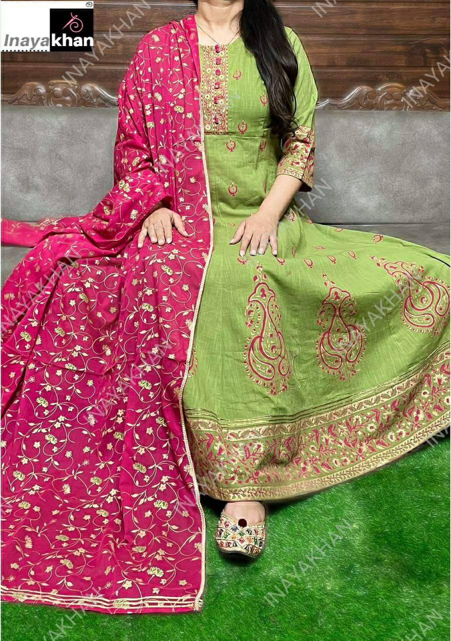 Elegent Green With Pink Printed Cotton Gown With Dupatta