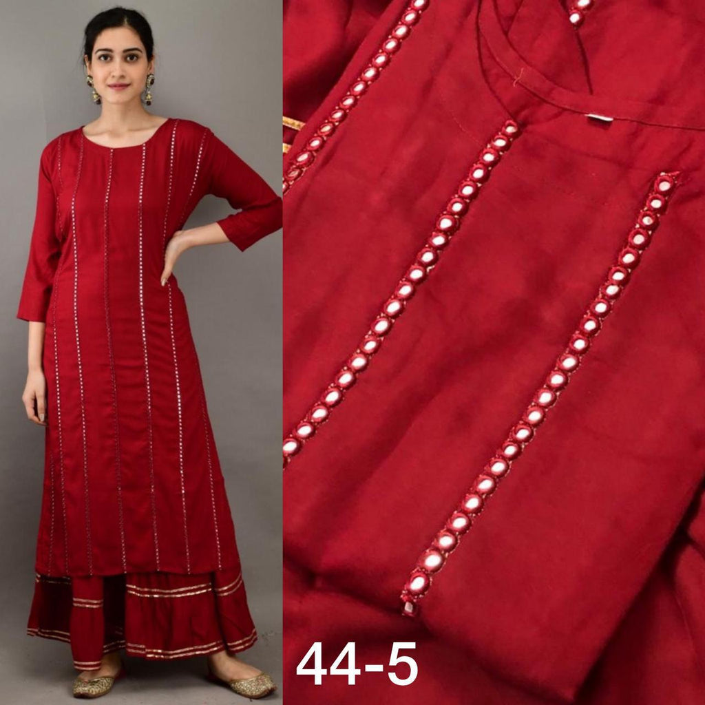 Red   Organic Rayon  Mirrior Work Kurti With Sharara