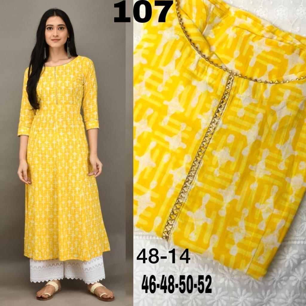 Yellow  Organic Cotton Anarkali With White Plazoo