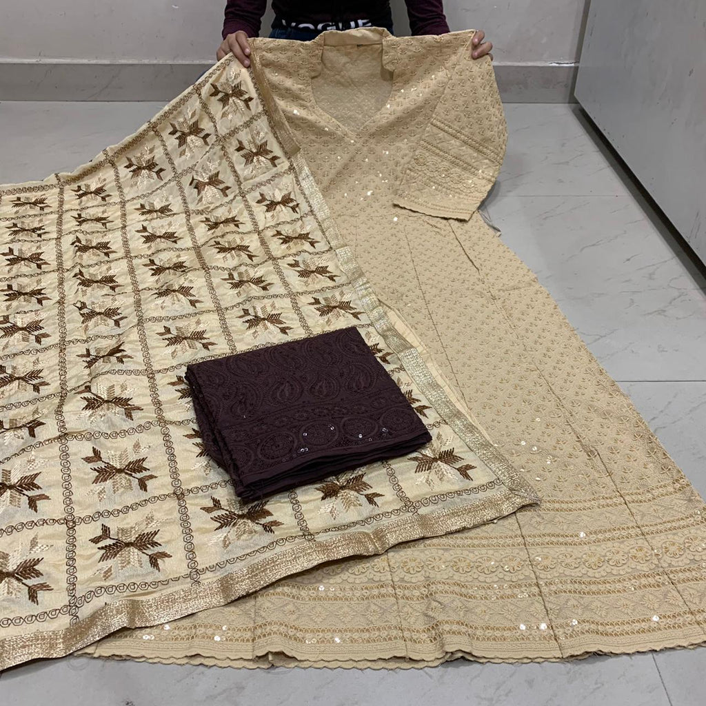 Beautiful  Handwork Dupatta With Beige  Chikankari Anarkali & Brown  Plazoo