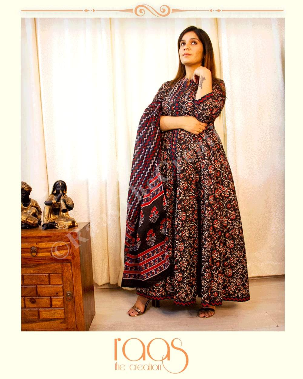 Beautiful Combination of Mixed Print Gown With Dupatta