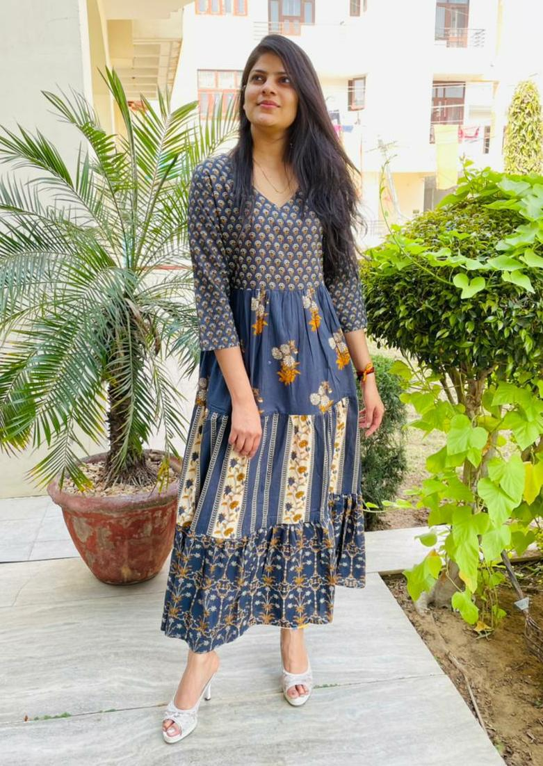 Beautiful Grey & Blue  Printed A- Line Kurta