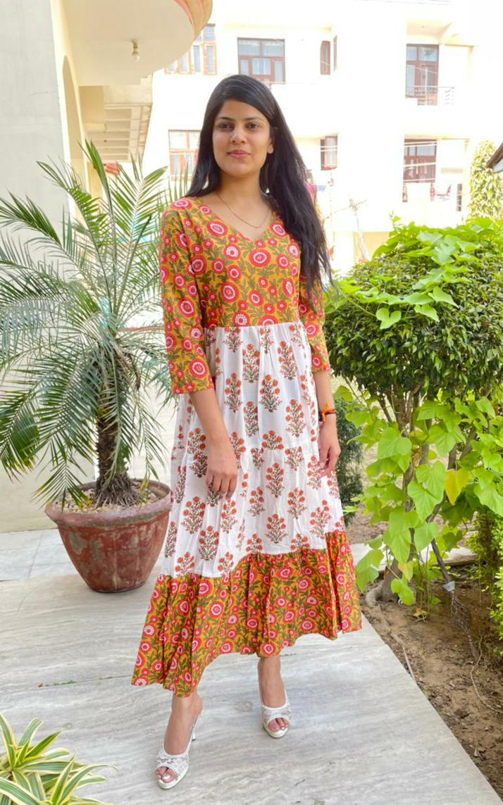 Beautiful Light Mustard Yellow & White  Printed A- Line Kurta