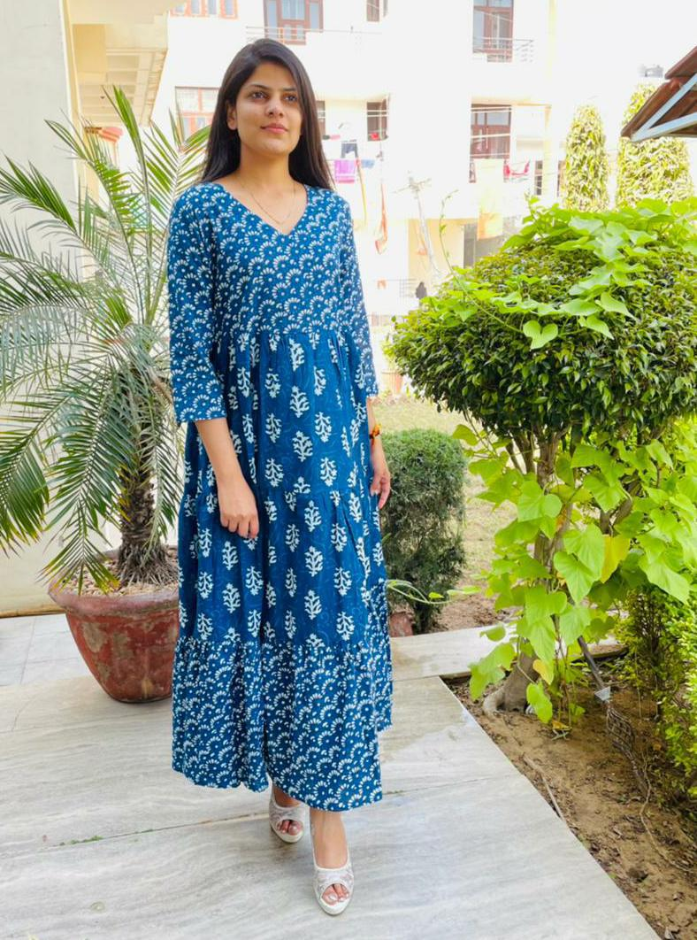 Beautiful  Deep Blue  Printed A- Line Kurta