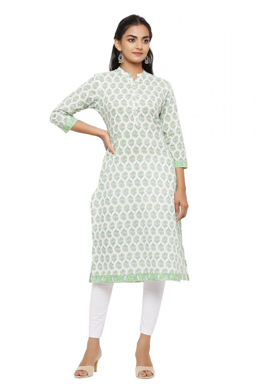 Beautiful White & Green Printed Straight Kurta