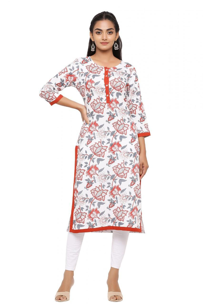 Beautiful White & Red Printed Straight Kurta
