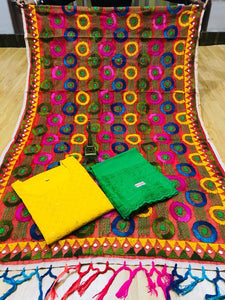 Beautiful Phulkari Handwork Jhalar Dupatta  With  Yellow  Chikankari Kurti & Green Plazoo