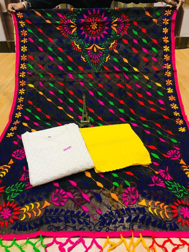 Beautiful Phulkari Handwork Jhalar Dupatta  With White  Chikankari Kurti & Yellow Plazoo