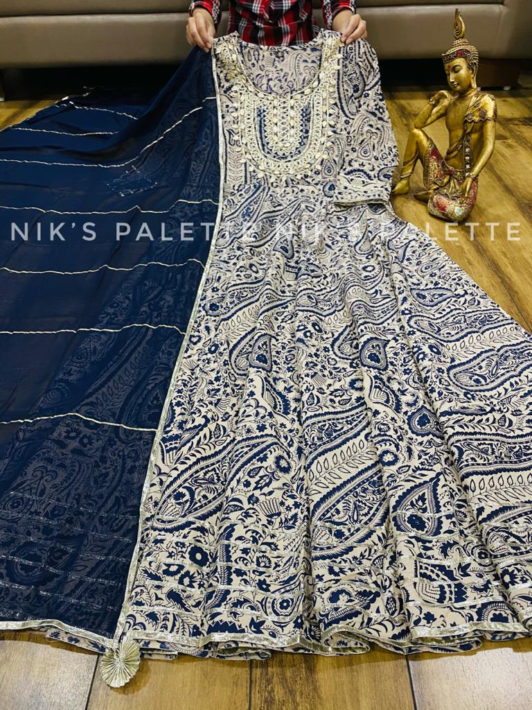 Beautiful Cotton Print Multiple Kali Full Gown with Shiffon Dupatta with Gota Lace & Tussel
