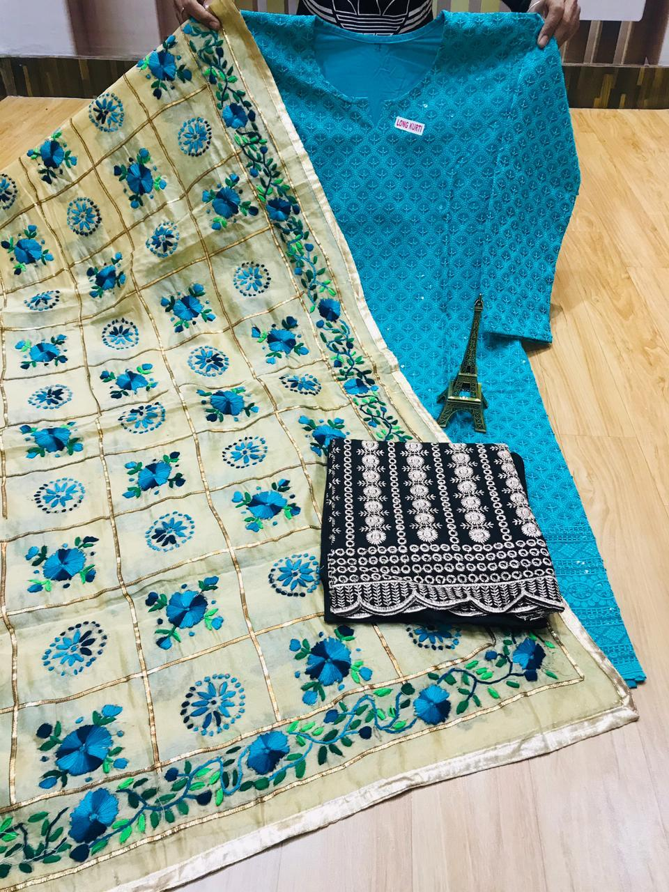 Tael Blue Chikankari Kurti with Plazzo and Phulkari Raw Silk Handwork Zigzag Jhalar Dupttata