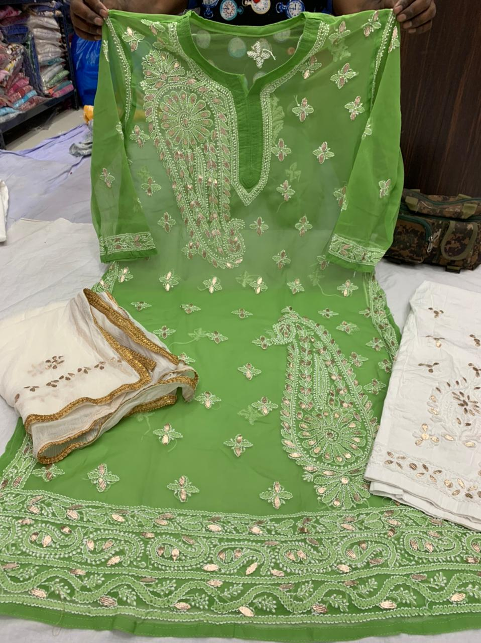 Green   Georgette  Kurti with gota patti  work  with cotton streachble pant  & Georgette Dupatta