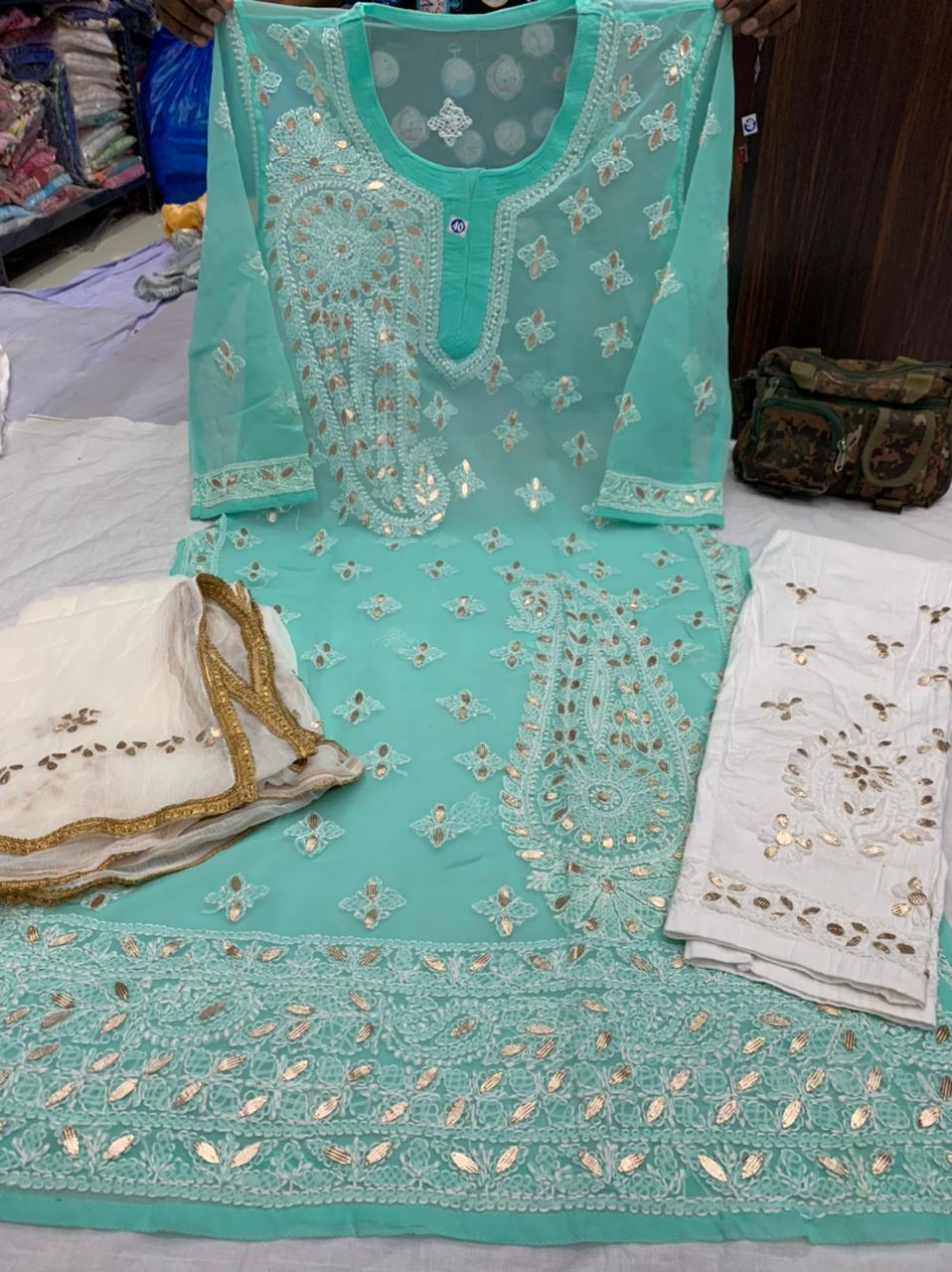 Aqua Green  Georgette  Kurti with gota patti  work  with cotton streachble pant  & Georgette Dupatta