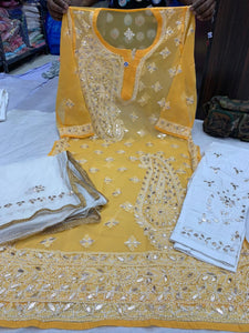 Yellow  Georgette  Kurti with gota patti  work  with cotton streachble pant  & Georgette Dupatta