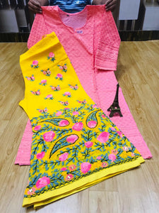 Light Pink  Cotton Sequence Work Kurti With  Yellow  Georgette Handwork Sharara