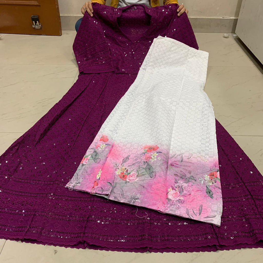 Dark Wine  Chikankari Anarkali Kurti With White Mastani Sharara