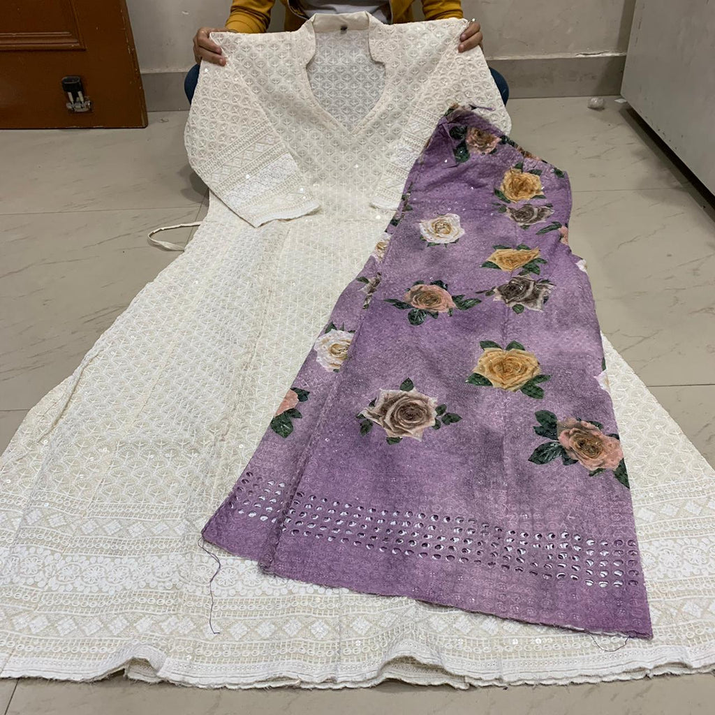 White   Chikankari Anarkali Kurti With Light Purple Digital  Mastani Sharara