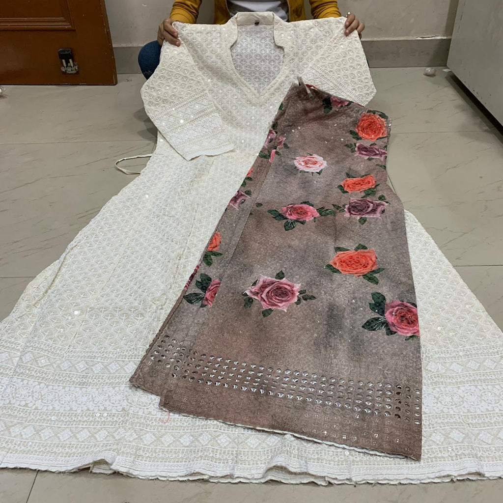 White Chikankari Anarkali Kurti With Light Brown Digital  Mastani Sharara