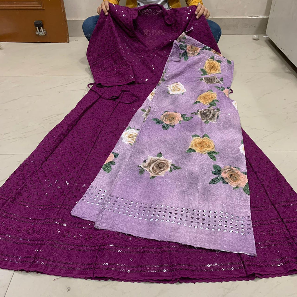 Dark Wine  Chikankari Anarkali Kurti With Light Purple Digital  Mastani Sharara