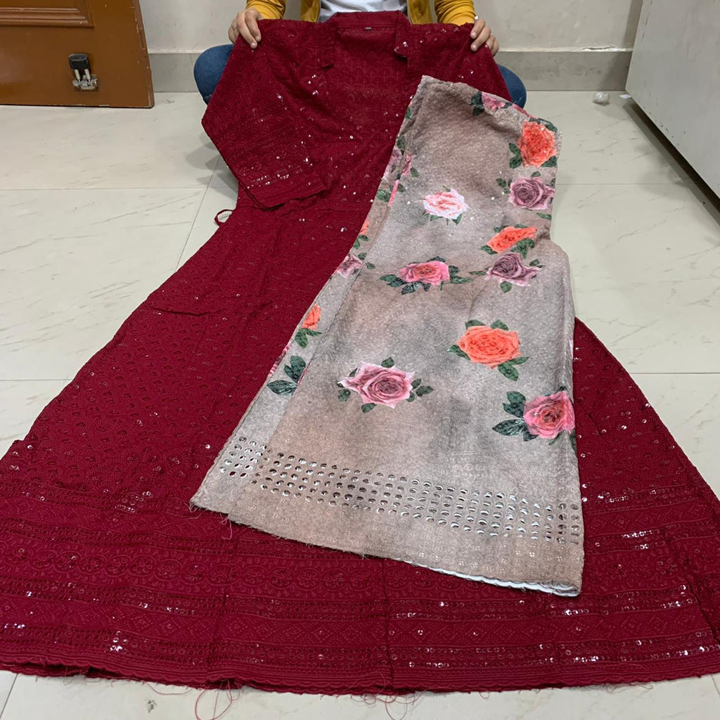 Dark Red  Chikankari Anarkali Kurti With  Digital  Mastani Sharara